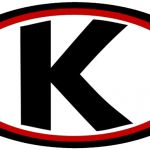 A black outlined oval with a red interior border and filled with white that contains the letter K in a bold black font that stands for Kathleen.