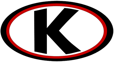 Kathleen High School logo that consists of a black and red outlined oval with a white fill and a black K that stands for Kathleen