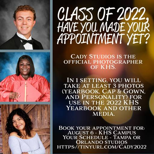 Flyer featuring students for Class of 2022 photos, information can be found in post below.